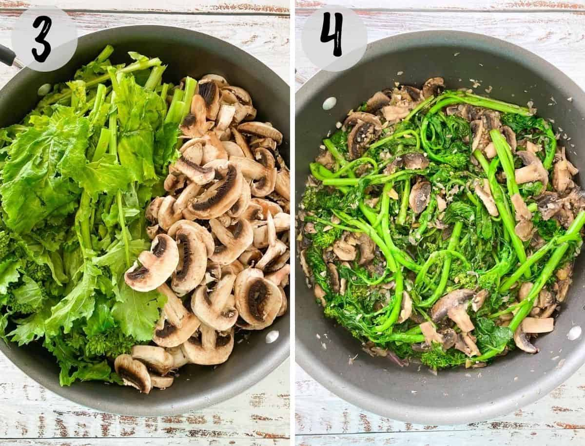 large skillet with sliced mushrooms and rapini before and after wilting