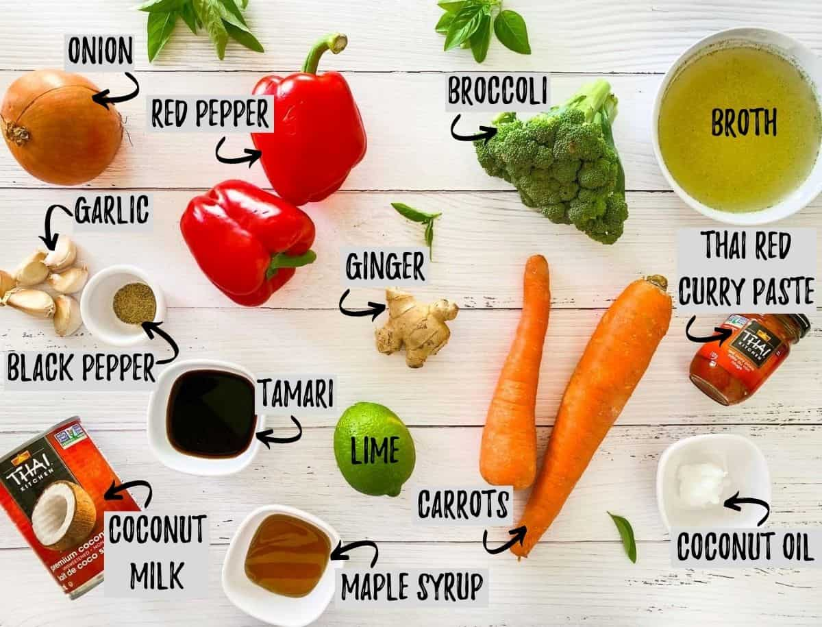 ingredients to make Instant Pot Thai curry dish