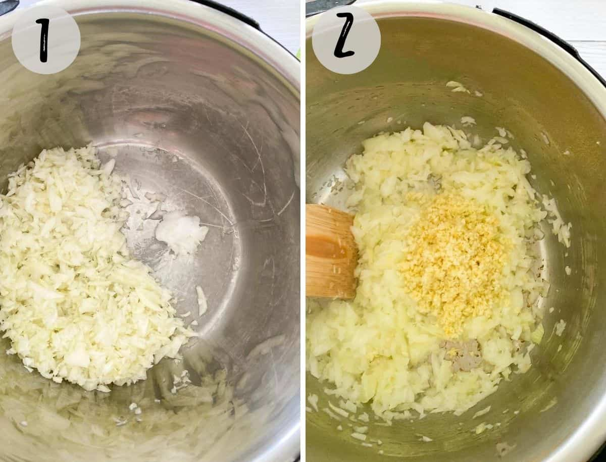 instant pot with onion, ginger and garlic being sautéed