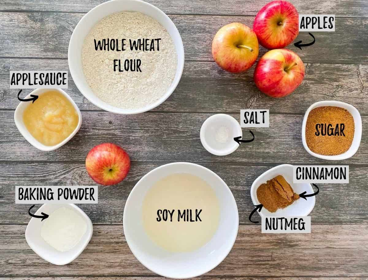 Ingredients to make vegan apple bread.