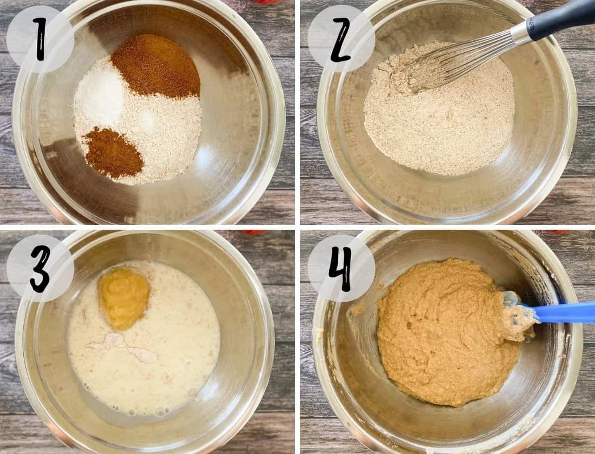 Collage of images showing mixing bowl with dry ingredients and then wet to make cake batter.