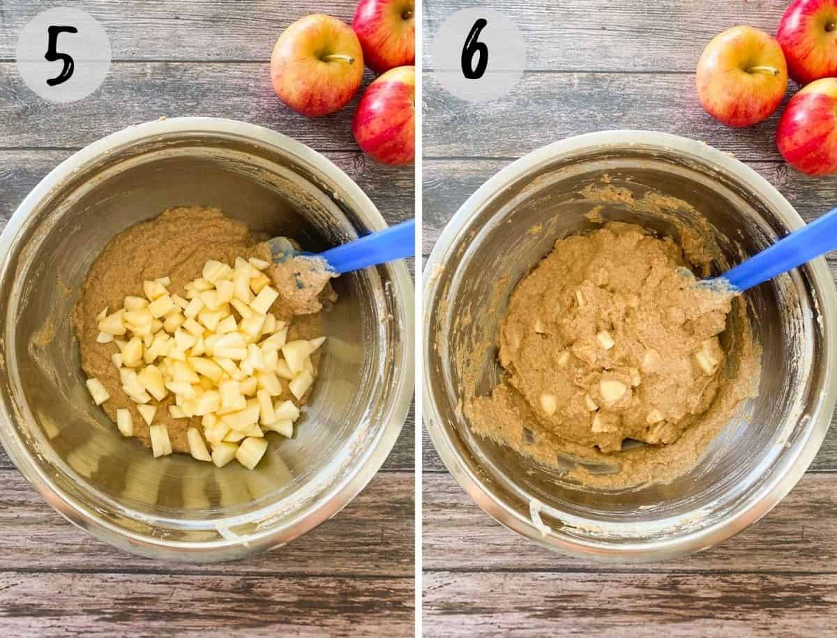 mixing bowl with batter and diced apples being mixed into it.
