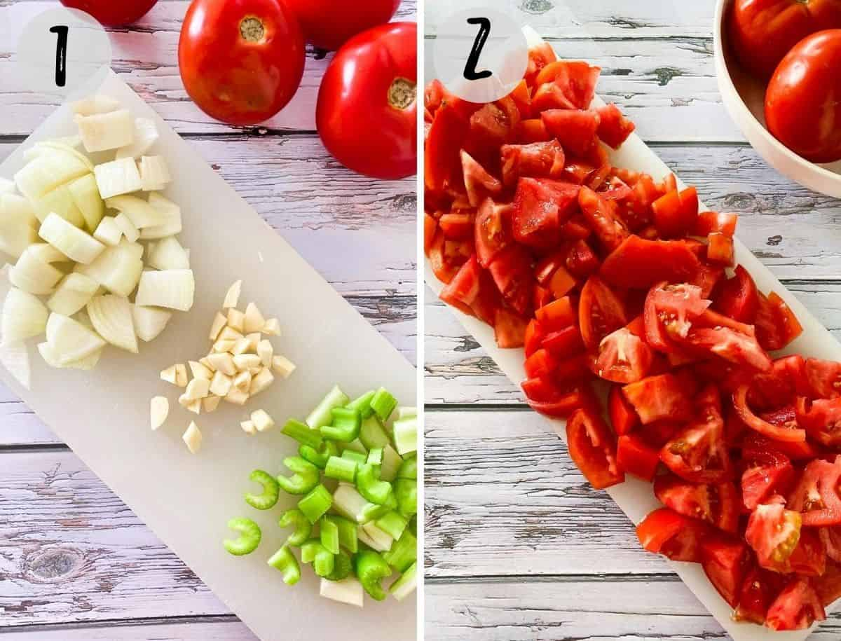 chopped celery, onion, garlic and tomatoes on cutting board