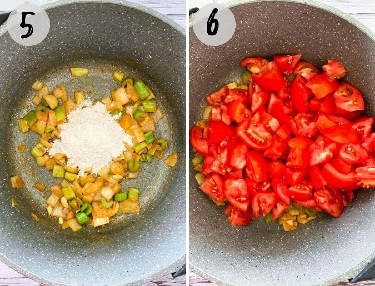 pot with chopped onion, celery and tomatoes inside