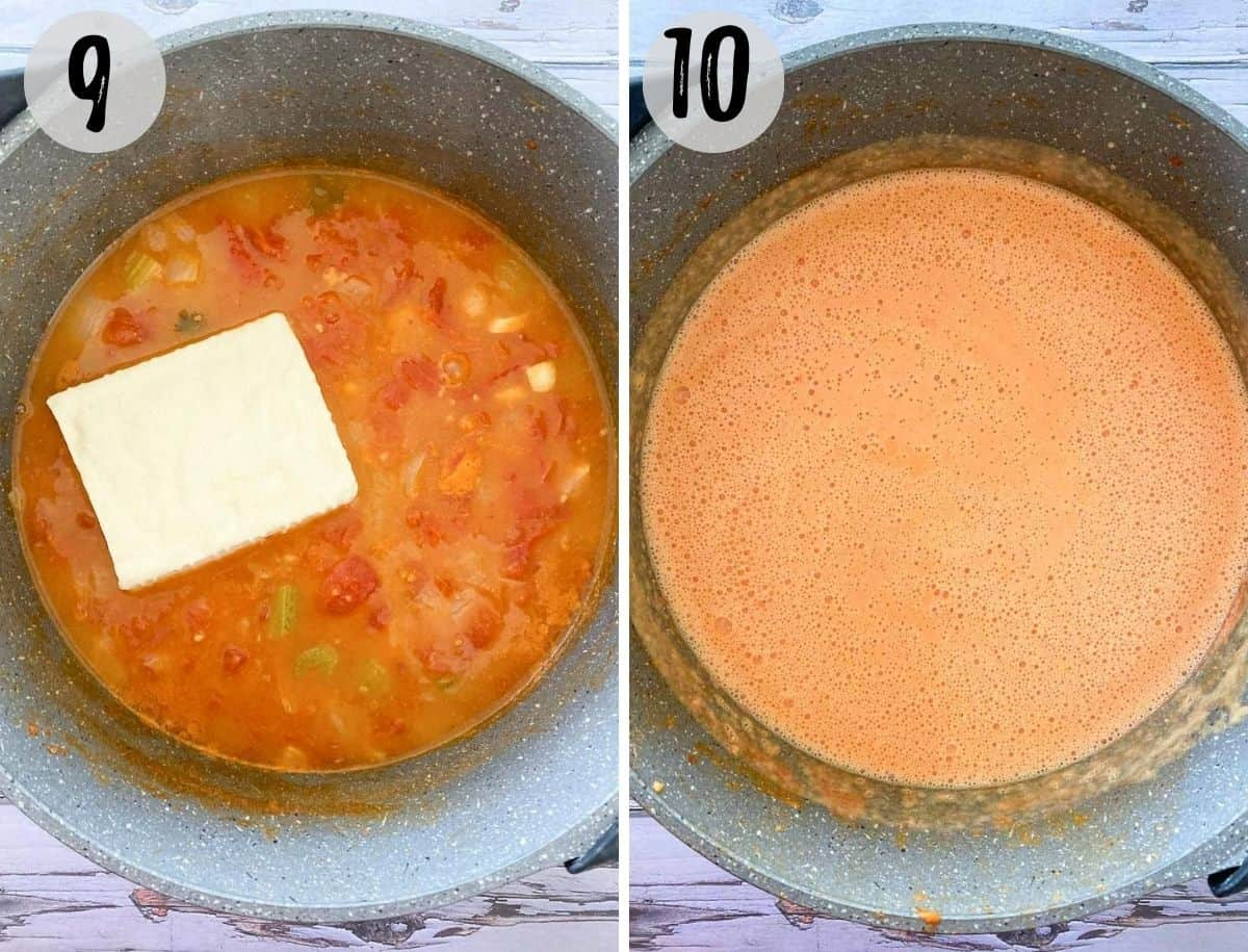 pot of tomato soup with block of tofu blended into it