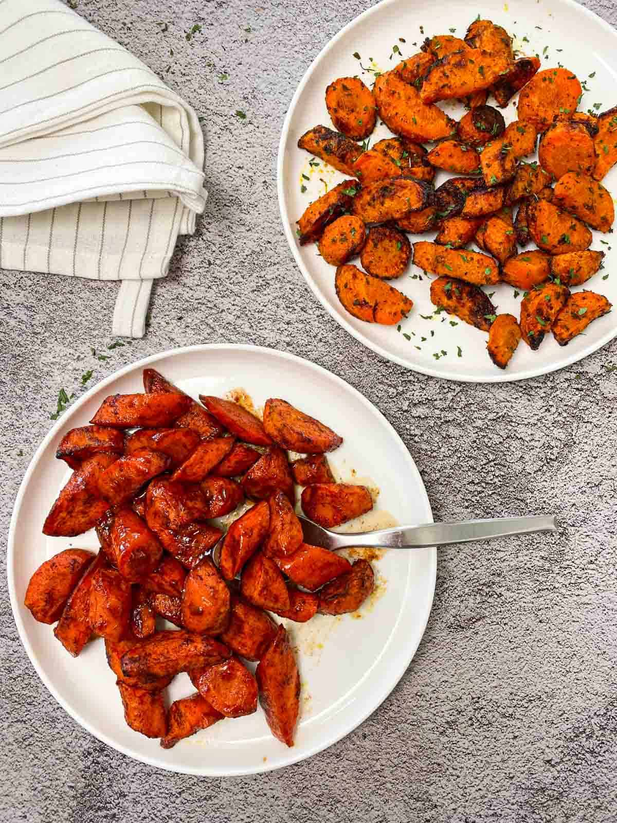 two plates with air fried carrots, one version is sweet and the other is spicy