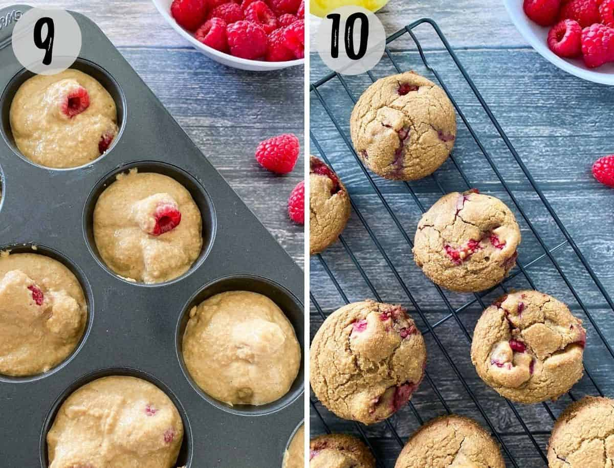 raspberry muffins in muffin pan before baking and then on cooling rack after baking