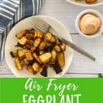 Air fryer eggplant PIN with text overlay.
