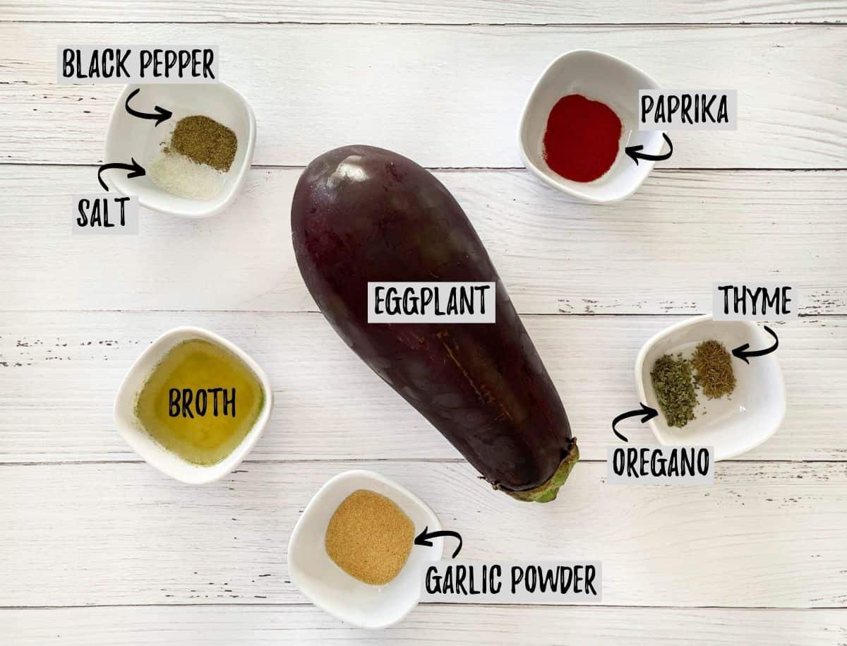 Ingredients needed to make air fryer eggplant.