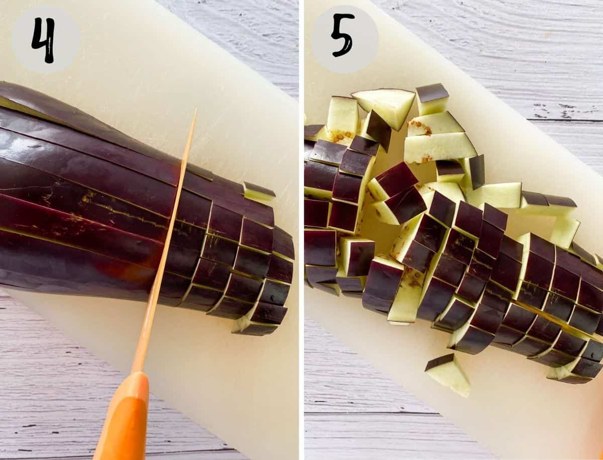 Collage of images showing eggplant in strips and then diced into cubes.