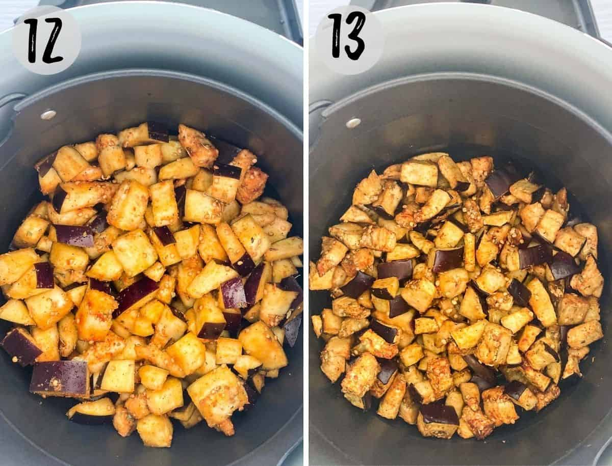 Eggplant pieces in air fryer basket, before and after cooking.