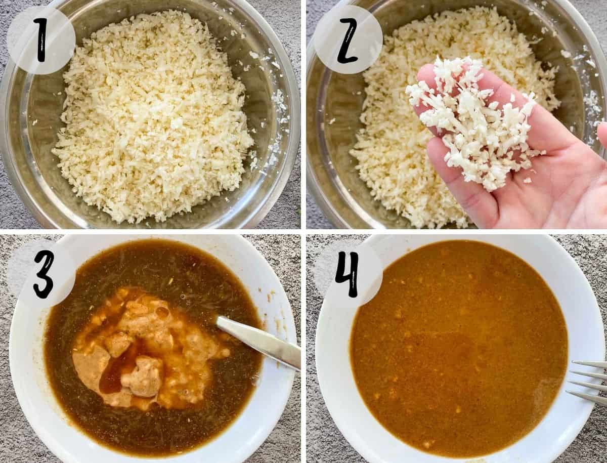 Collage of images of making cauliflower rice and peanut sauce in small bowl.
