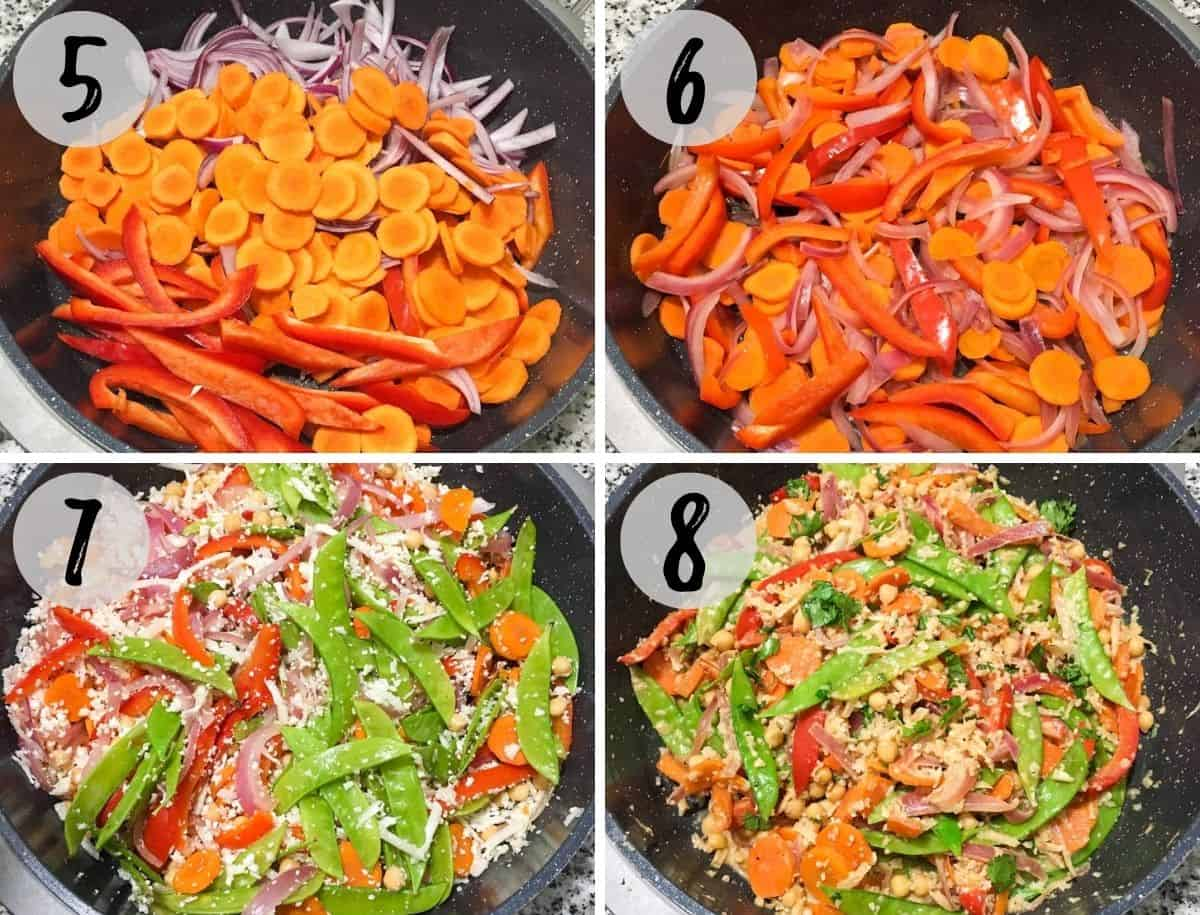 Collage of images of large wok with onion, carrot, pepper, and cauliflower rice being sauteed.