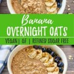 Banana overnight oats PIN with text overlay.