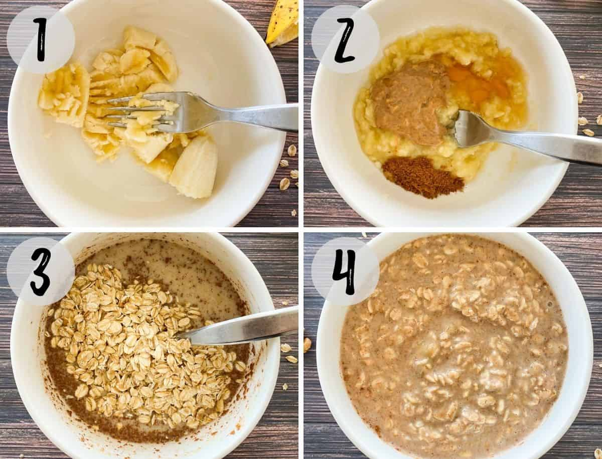 Collage of images with bowl of mashed banana, then adding oats and milk and mixing together.