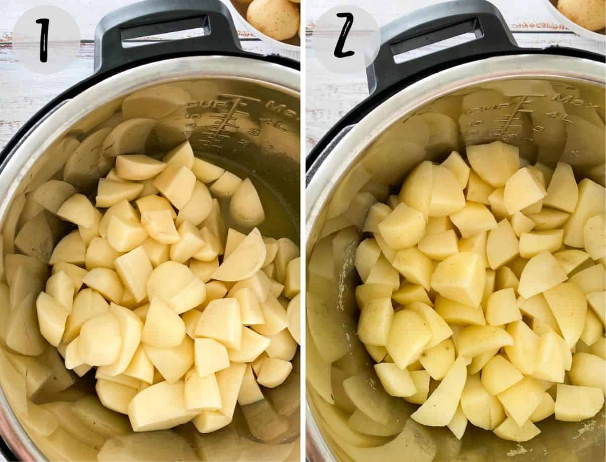 Cubed potatoes inside Instant Pot before and after cooking.