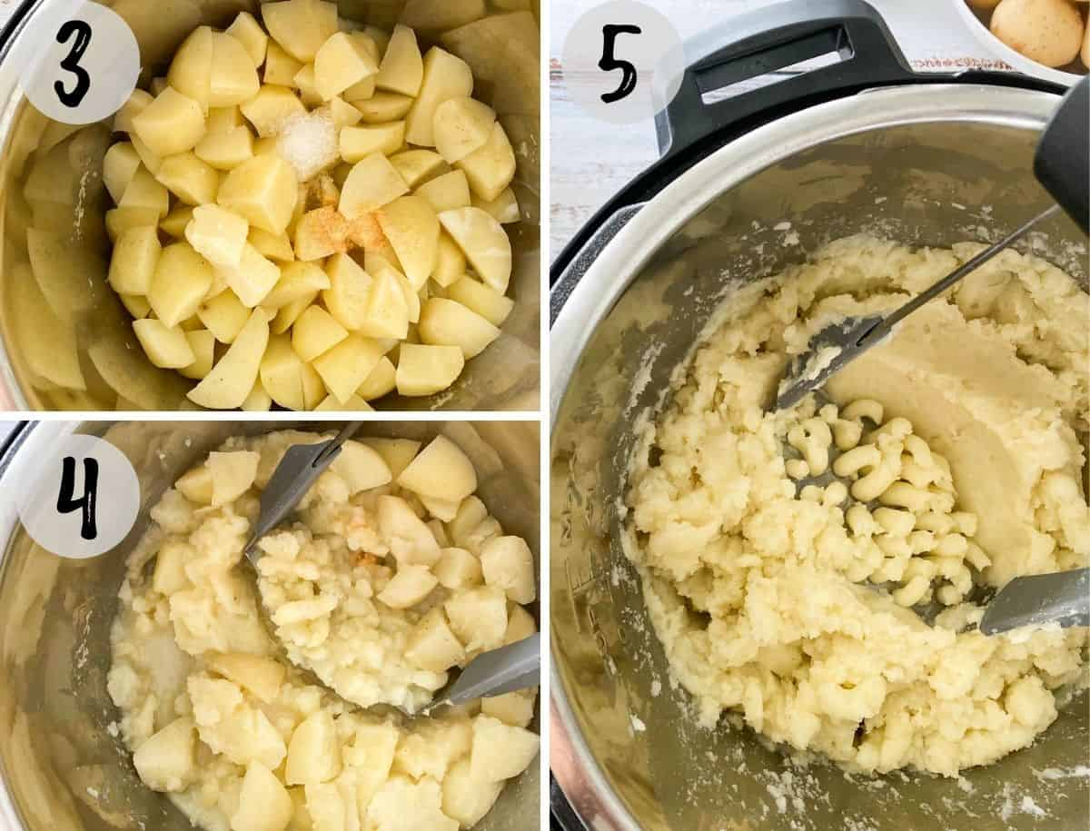 Cooked cubed potatoes being mashed inside the Instant Pot.