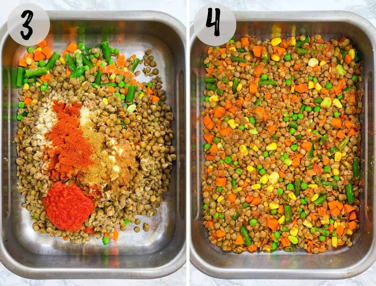 Baking dish filled with lentils, mixed veggies and seasoning.