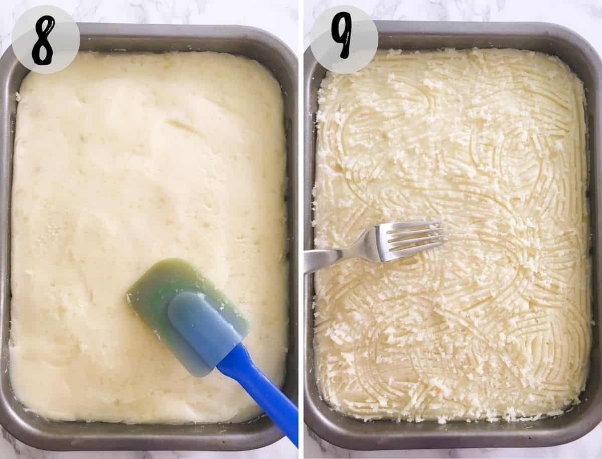 Baking dish with potatoes being smoother out with silicone spatula, and then a fork making crisscross pattern.