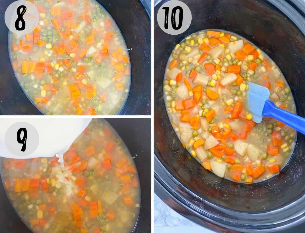 Crock pot filled with vegetable soup.