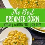Vegan Creamed Corn PIN with text overlay.