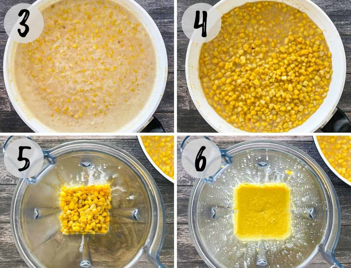 Collage of images showing corn cooking in skillet and then being blended in blender.
