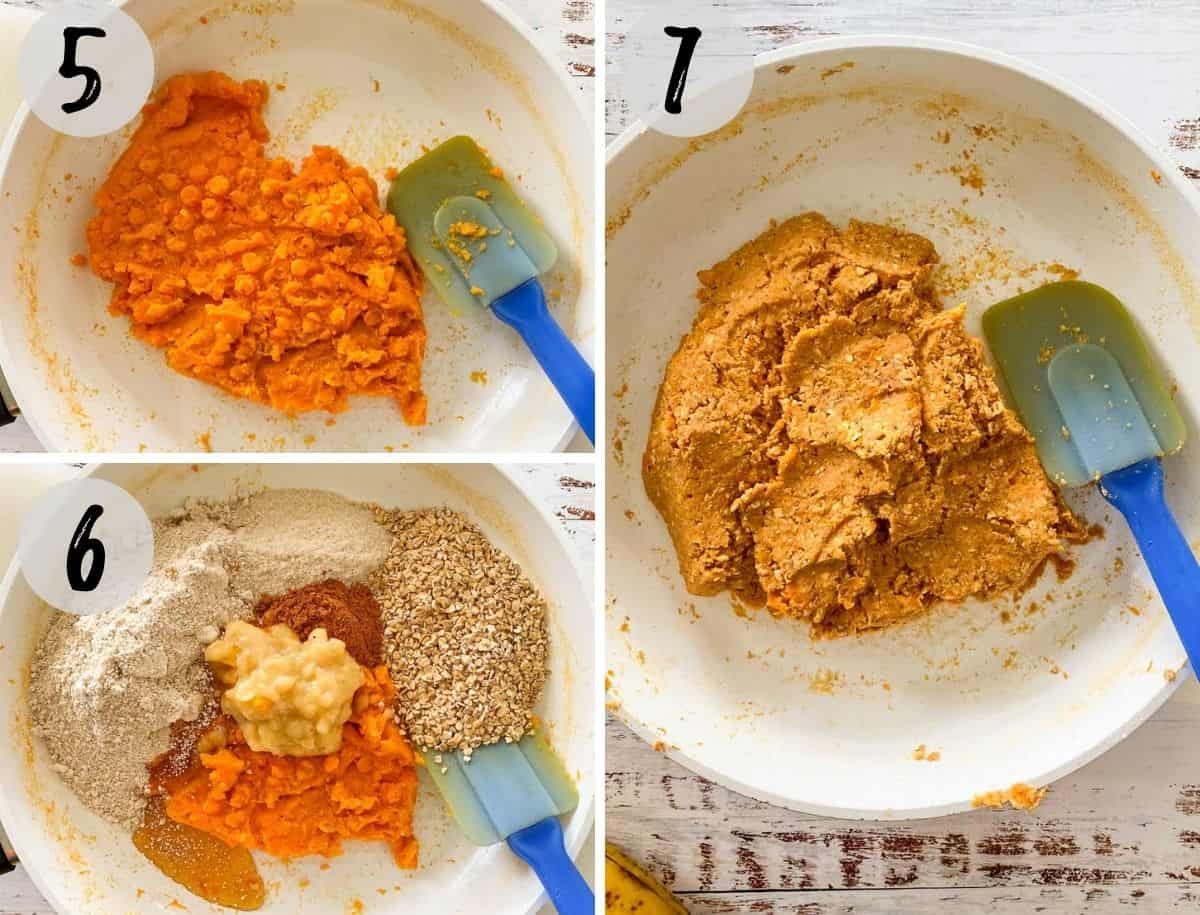 Collage of images of mashed sweet potato, with remaining ingredients to make cookie batter