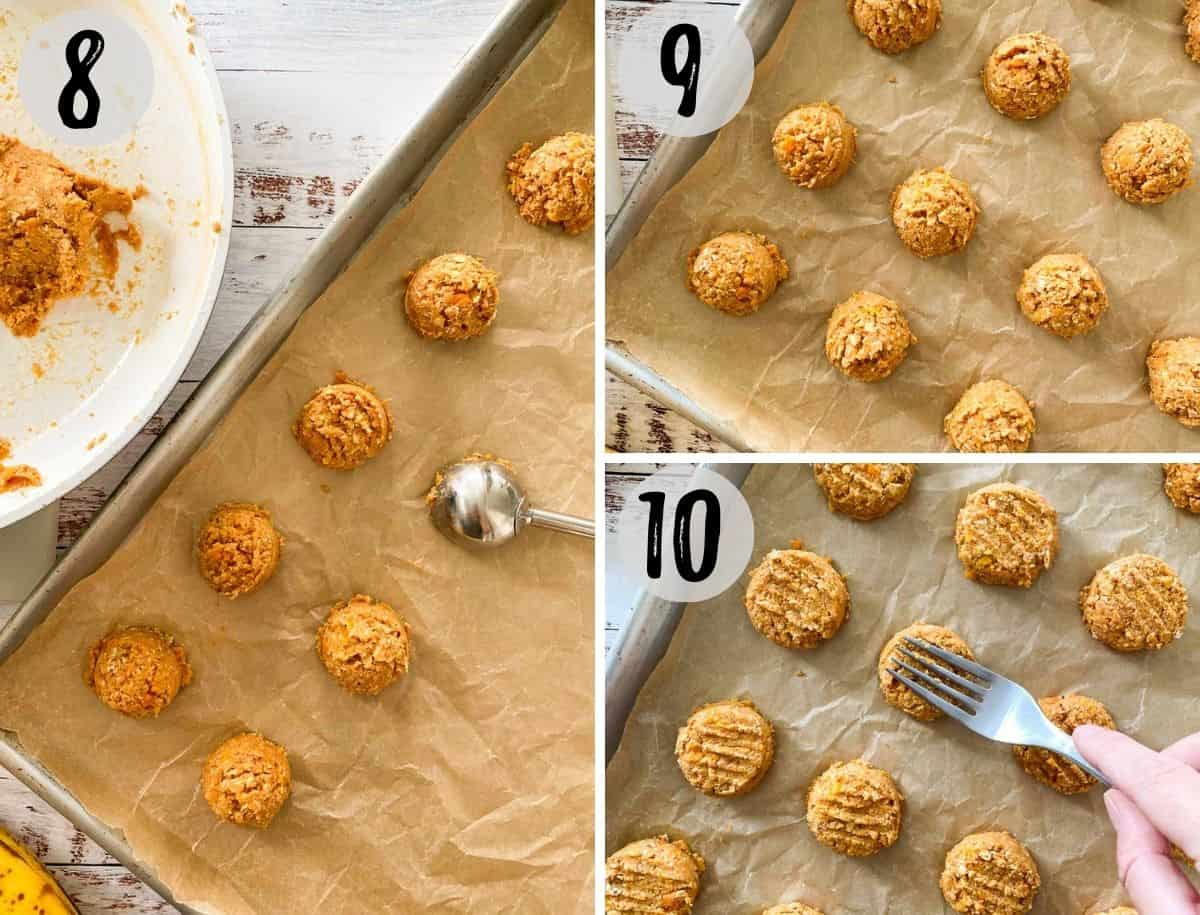 Cookie scoop placing cookies down on baking sheet and then pressing them with a fork.