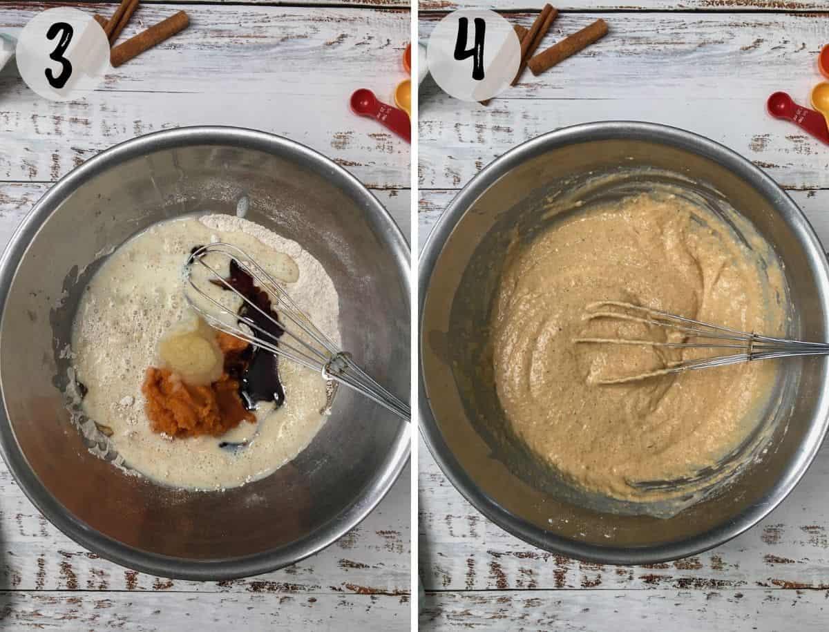 vegan pumpkin pancake batter in large mixing bowl.