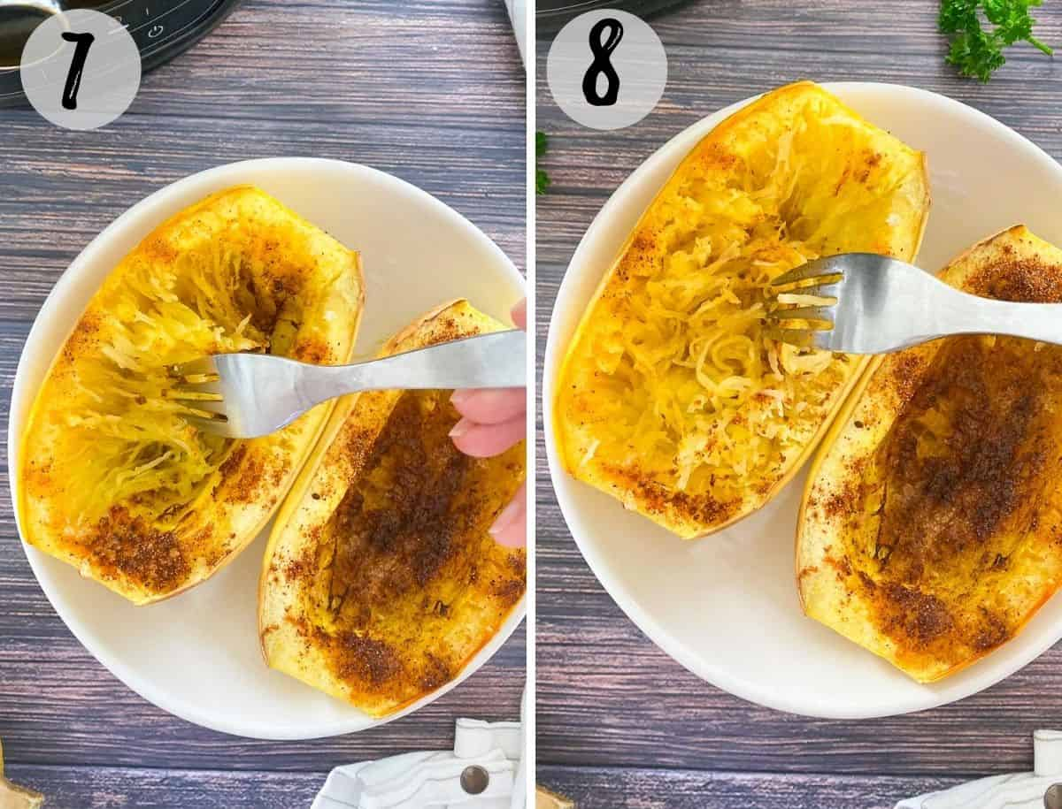Collage of images displaying two spaghetti squash halves in white bowl with fork fluffing them up.