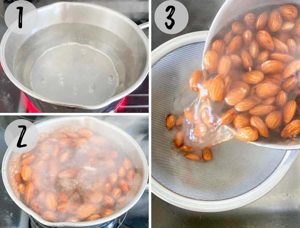 collage of images showing boiling water with almonds in pot and then draining them into a colander.