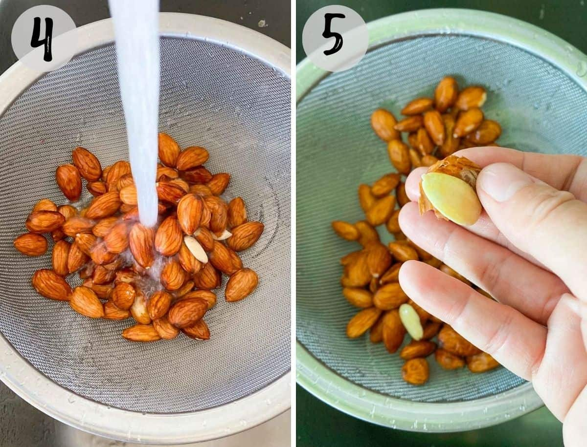 collage of two images with almonds in colander being rinsed, and then hand removing skin from almonds.