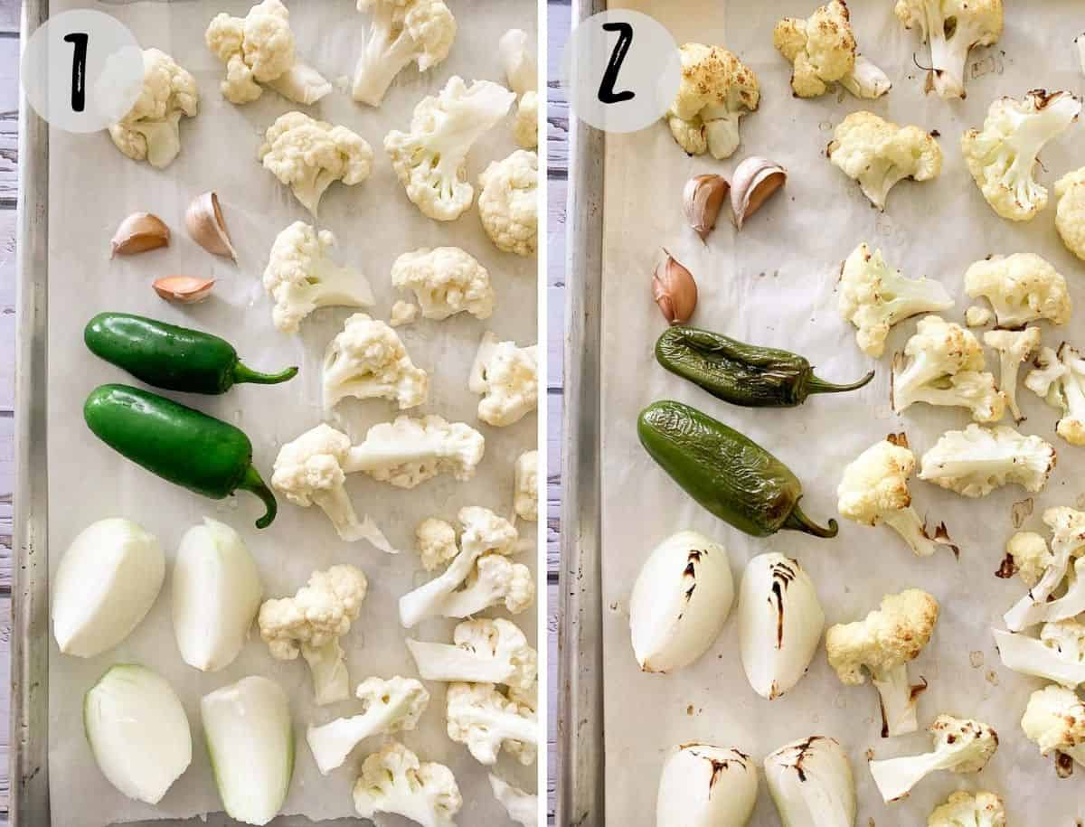 Cauliflower florets, jalapenos, garlic and onion on baking tray before and after roasting.