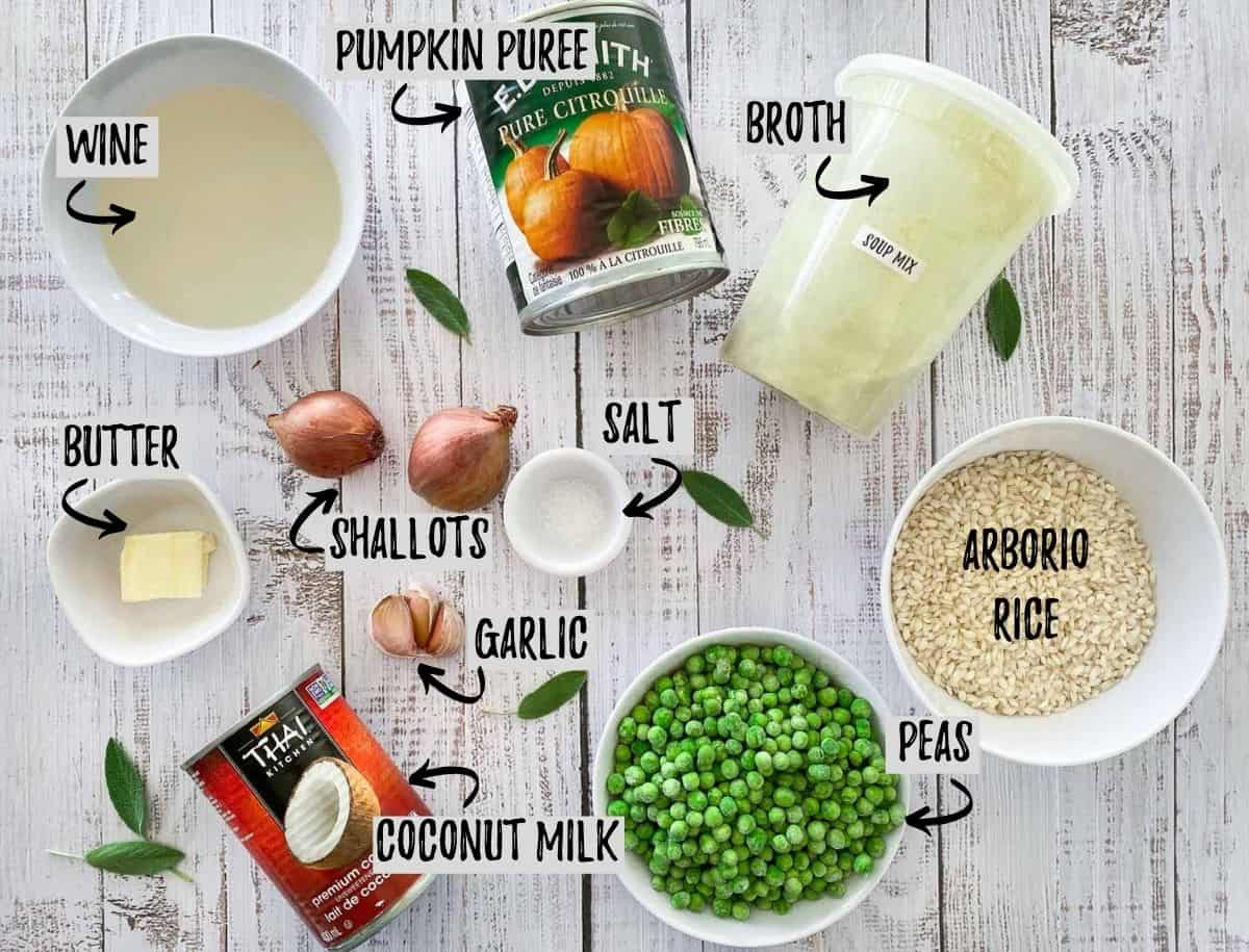 ingredients to make vegan pumpkin risotto on light wooden deck.