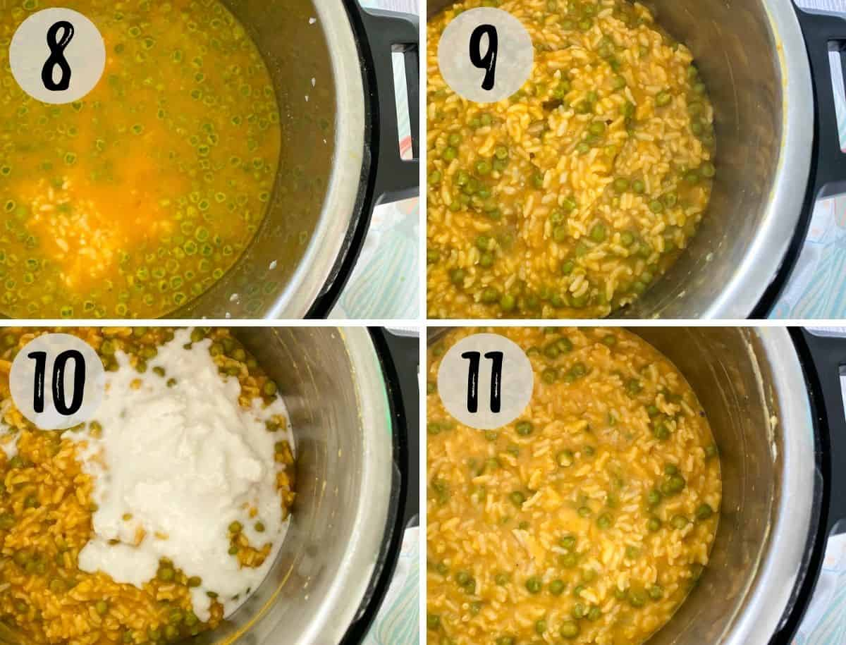 collage of images with rice, peas, broth and pumpkin puree in the instant pot, before and after cooking.
