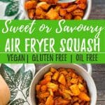 Air Fryer Butternut Squash PIN with text overlay.