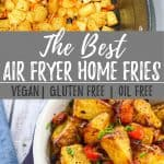 Air fryer home fries PIN with text overlay.