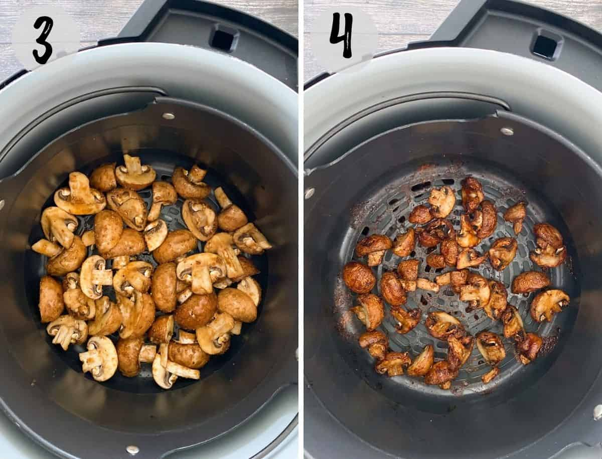 Sliced mushrooms in air fryer basket before and after cooking.