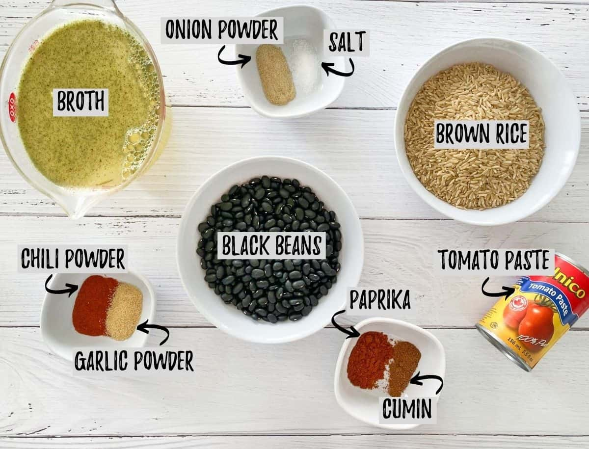 Ingredients needed to make Instant Pot Mexican casserole.