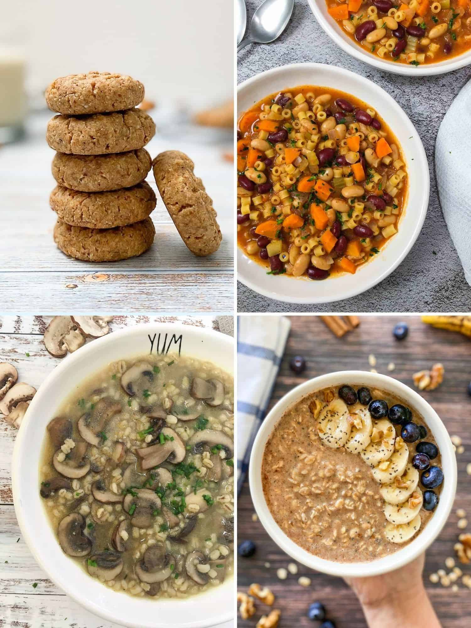Collage of 4 food images: cookies, stew, soup, oatmeal.