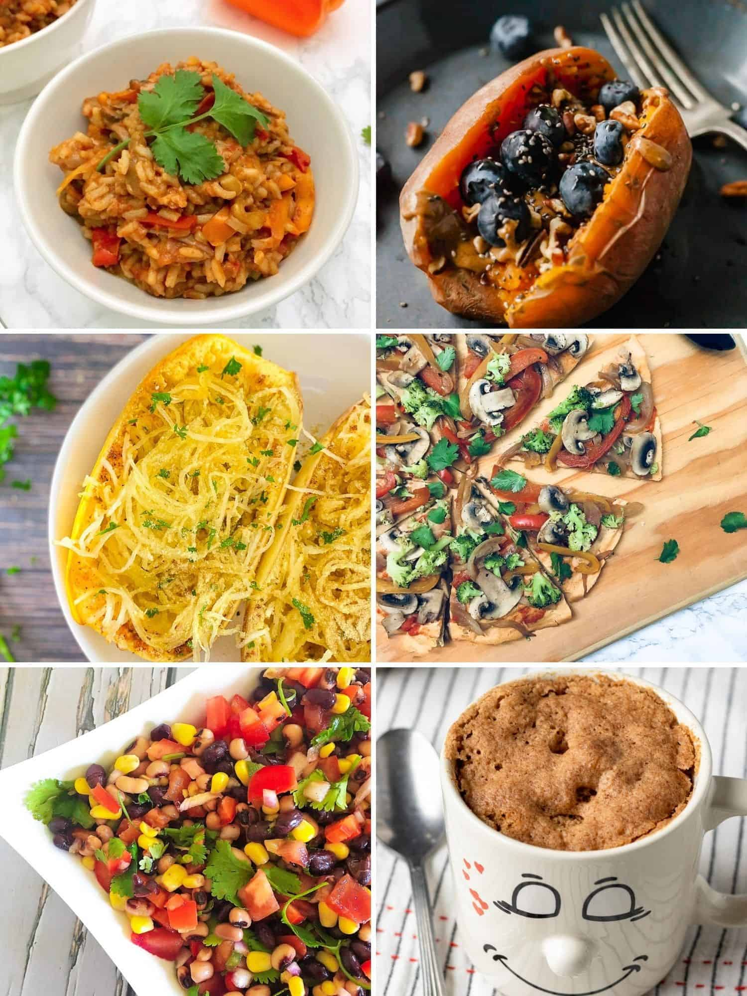 Collage of 6 images displaying easy to make vegan recipes.