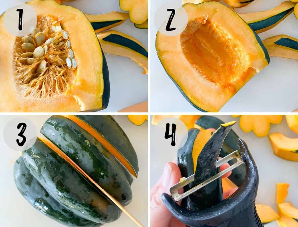 Collage of images showing how to cut an acorn squash.