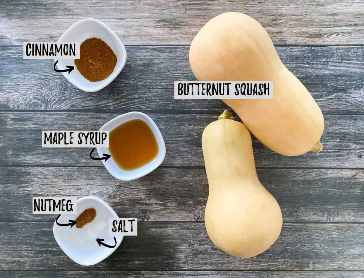 Ingredients to make sweet butternut squash fries in the air fryer.