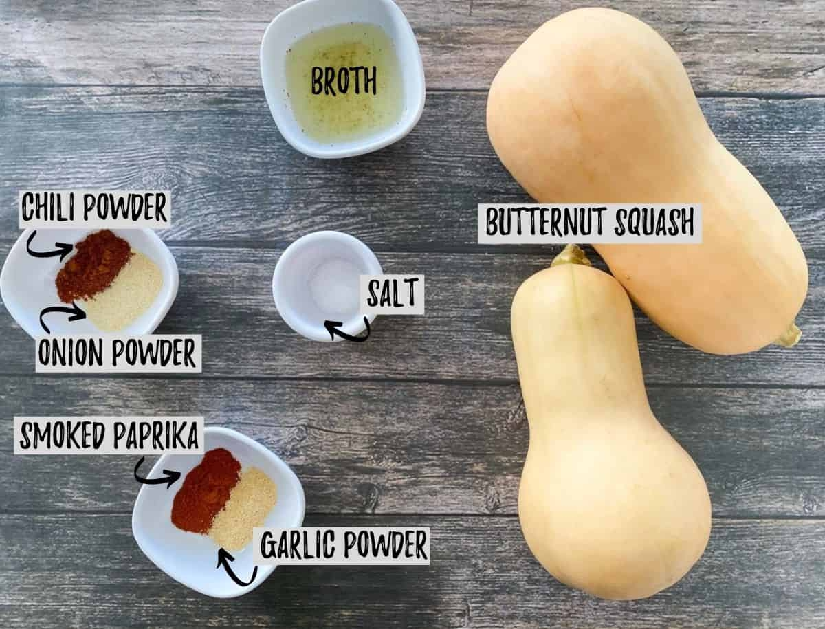 Ingredients needed to make savoury butternut squash in the air fryer.