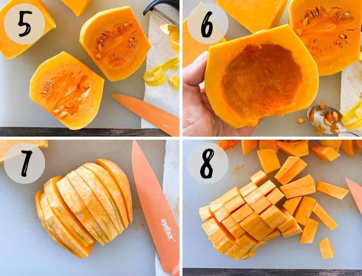 Collage of images showing how to cut a butternut squash.