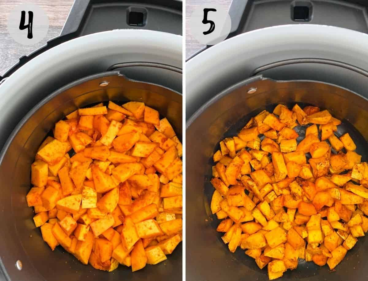 Butternut squash fries inside air fryer before and after cooking.