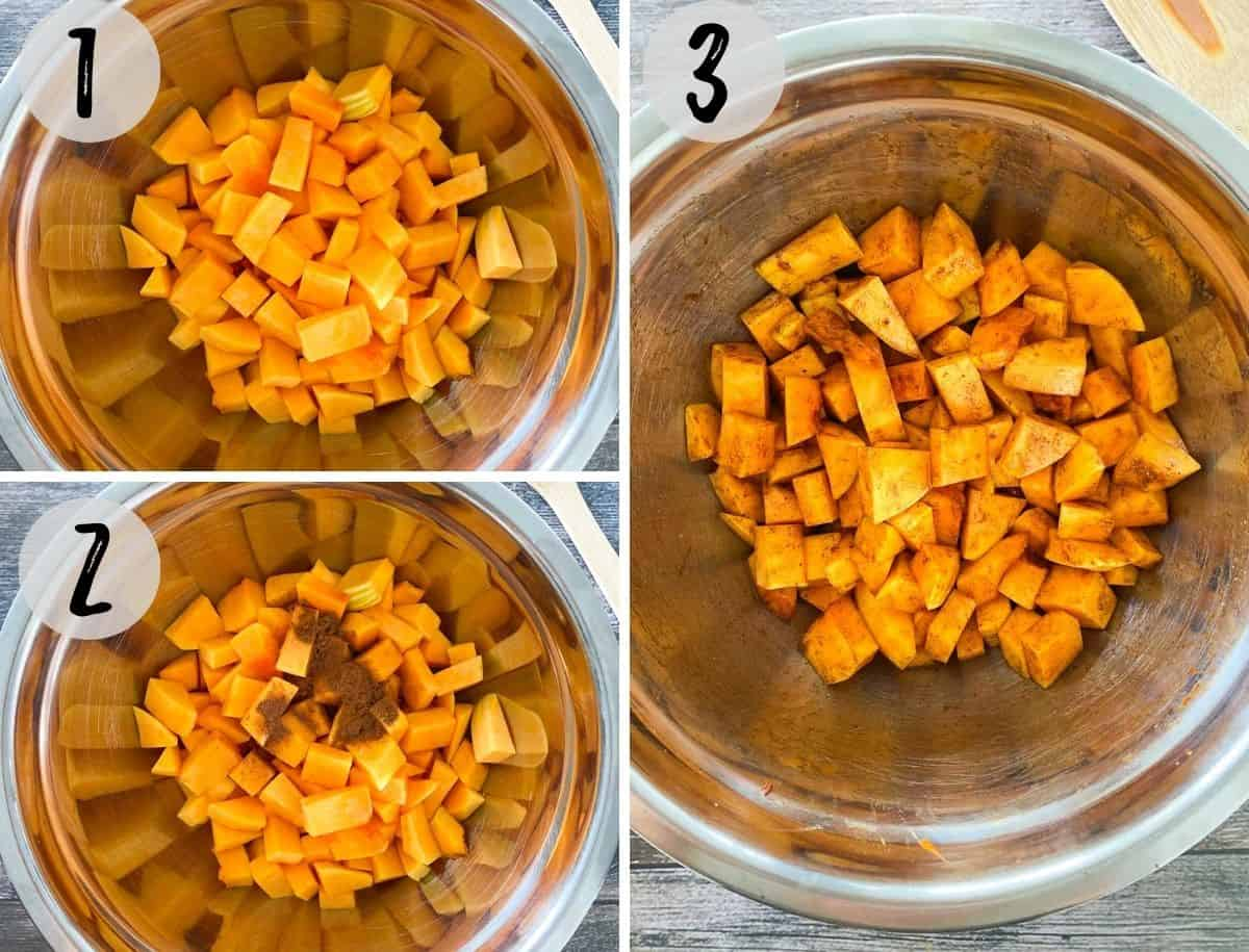Mixing bowl filled with cubed butternut squash and seasoning.
