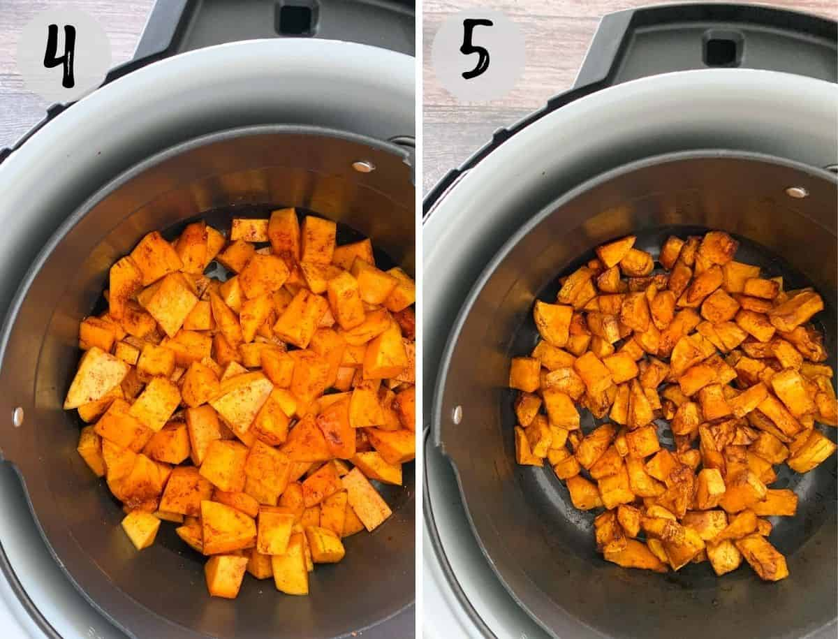 Cubed butternut squash inside the air fryer before and after cooking.