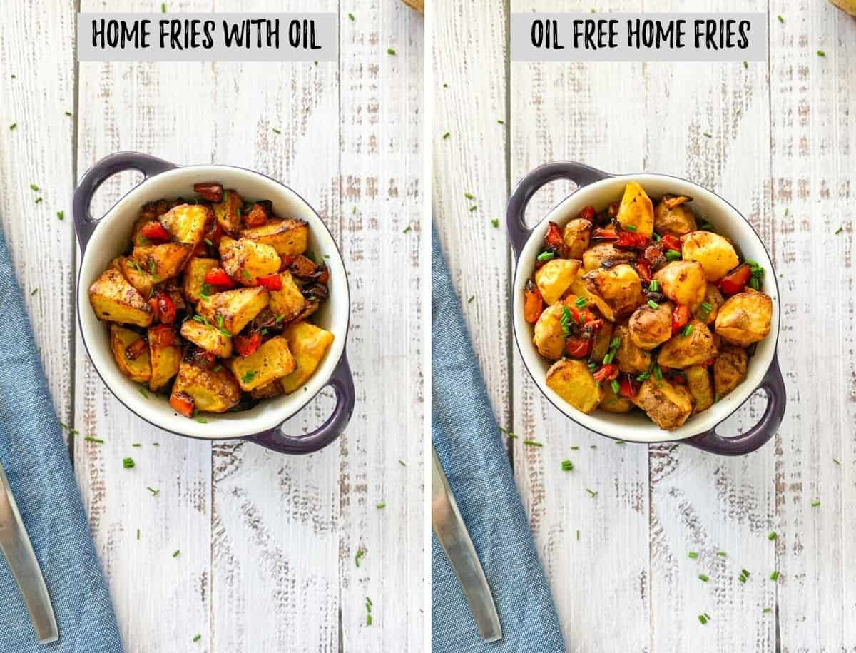 Side by side image showing home fries made with oil and without oil.