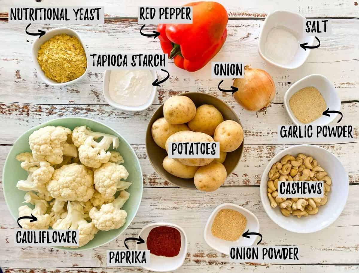 Ingredients to make vegan hash brown casserole.